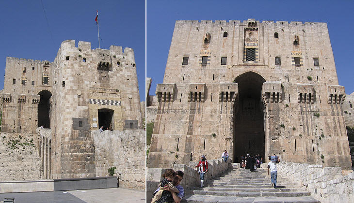 (left) Entrance; (right) tower/palace at the end of the steps