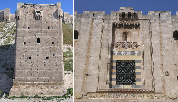 (left) External tower; (right) detail of the palace