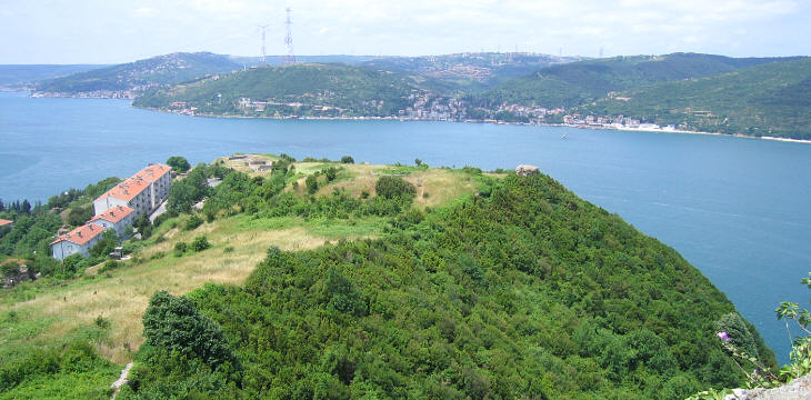 View of the lower fortress and beyond the Bosporus of Rumeli Kavagi