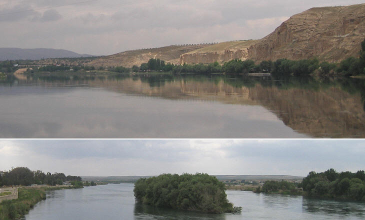 The Euphrates River: (above) view northwards; (below) view southwards