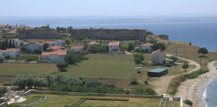 View of the fortress and of the beach where the Allied landed