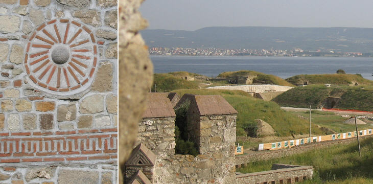 Decoration of the walls and view of the modern fortifications