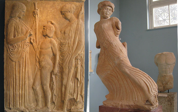 (left) Copy of a relief portraying Demeter (left), Triptolemos (centre) and Core/Persephone (right); (right) the flying maiden