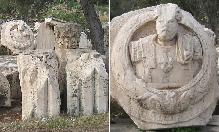 (left) Elements of the Great Propylaea; (right) bust of Emperor Antoninus Pius