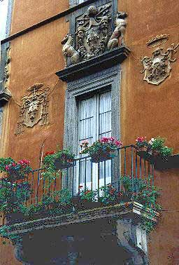 The Farnese window in Via Giulia