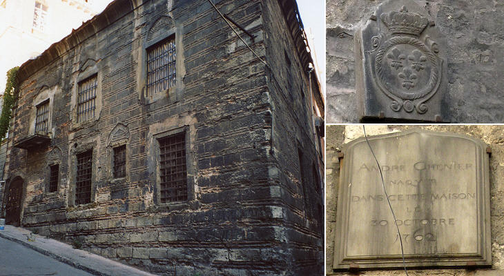 Old buildings in Galata and the tomb of three Genoese maritime agents
