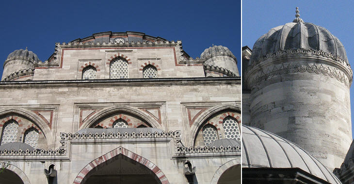 Sehzade Camii: (left) view from the courtyard; (right) one of the four
