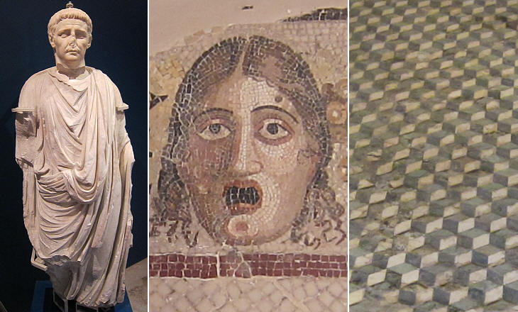 (left) Statue of Emperor Claudius; (centre) mosaic depicting a mask; (right) mosaic creating an optical effect