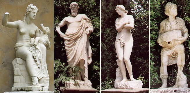 Ancient and modern statues in Boboli