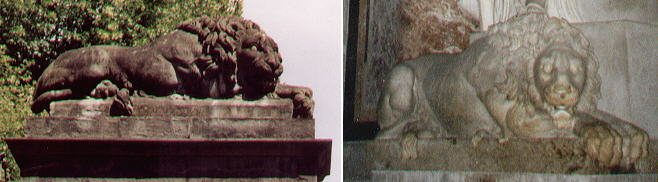 Lions at Annalena's gate in Boboli and in the Monument to Clemens XIII by Antonio Canova
