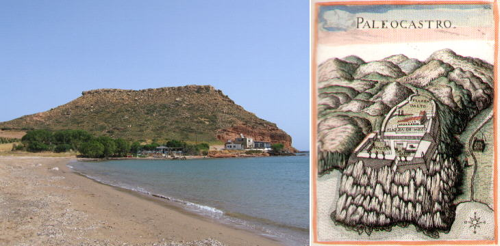 The site of Paleocastro and a XVIIth century painting showing the fortress