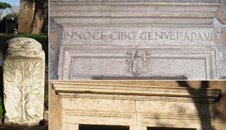 (left) Ancient fragment and behind it the Malta Cross on the former stables; (right) inscriptions celebrating Pope Innocent VIII (above) and Pope Julius II (below - misspelled)